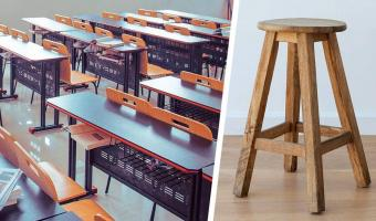 Дизайнер показал на стульях, как правильно сидеть в школе. Оказалось, 200 лет детям было слишком удобно