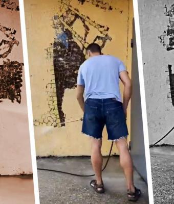 Блогер из Киева отмыл мозаику от краски и открыл портал в СССР. Люди в восторге, но боятся за будущее парня
