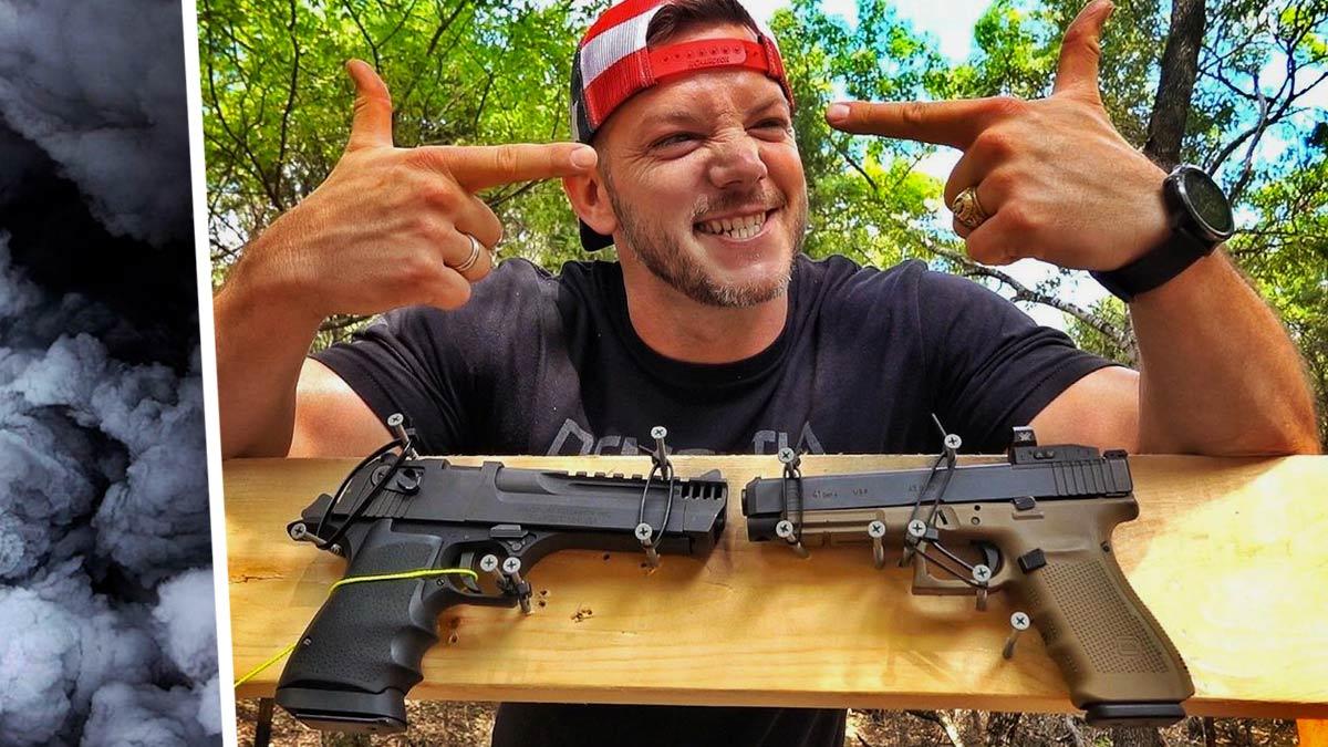 Что будет, если выстрелить из одного пистолета прямо в дуло другого? Самый эпичный способ обезвредить оружие