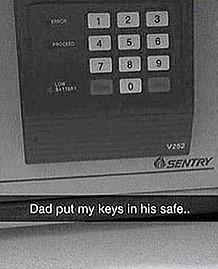 Отец спрятал ключи от тачки сына в сейф, но кое-что не учёл. Парень смог завести машину сейфом