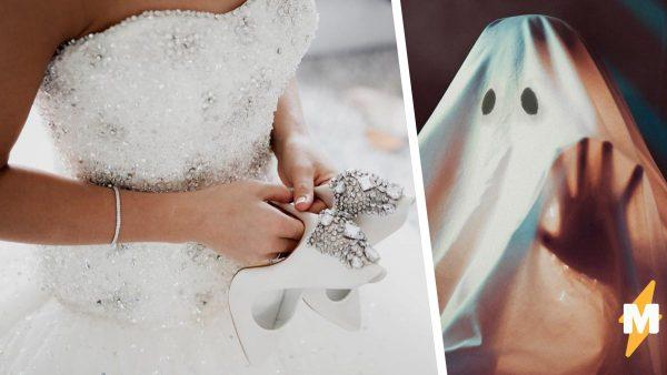 Девушка показала свадебное платье, но люди видят крипоту. Фото наряда в парадной рамке достойно фильма ужасов