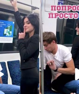 Блогерша из Санкт-Петербурга запрыгивает на парней в метро. Но реакция участников пранка — боль для людей