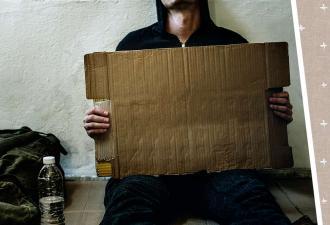 Бездомный нашёл работу и оставил послание прохожим. Но люди не рады: в его словах они видят повод для хейта