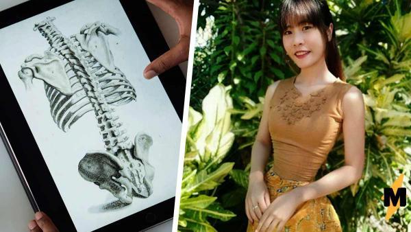 Художница представила, как выглядят скелеты блогерш с тонкой талией. Анатомия сломана, но люди верят в сказку