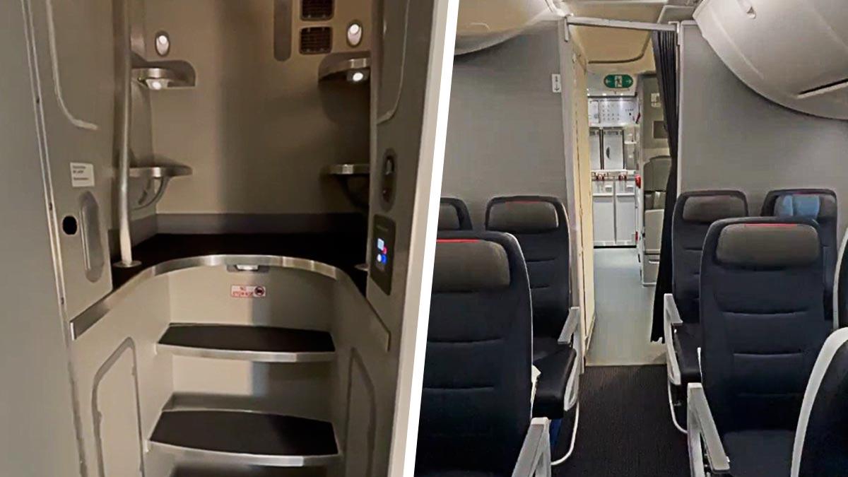 Парень показал секретное помещение, где отдыхает экипаж самолёта. И эта тайная комната — ад клаустрофоба