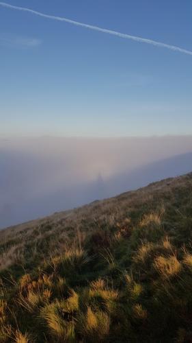 Парень поднялся в горы и увидел собственный призрак. Но мистики здесь нет - только редкая оптическая иллюзия