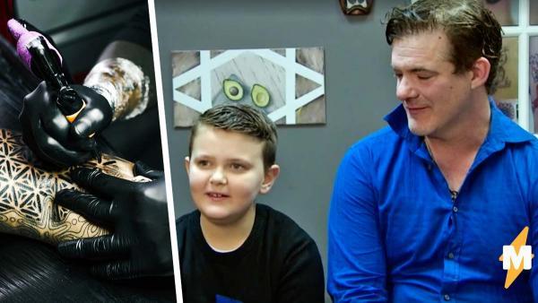 Отец-герой показал свою татуировку сыну и тронул мальчика до слёз. У боди-арта отца есть целая история