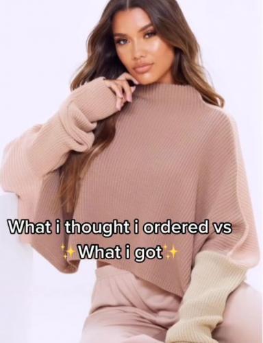 Девушка заказала свитер, но получила оверсайз инопланетянина. На чьи руки его шили, остаётся гадать и бояться