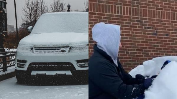 Отец очистил машину от снега своим ребёнком, и людей горит