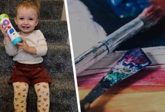 Дочь смотрела урок рисования и решила закосплеить художника. Пять минут — и мать не узнала ни дом, ни ребёнка