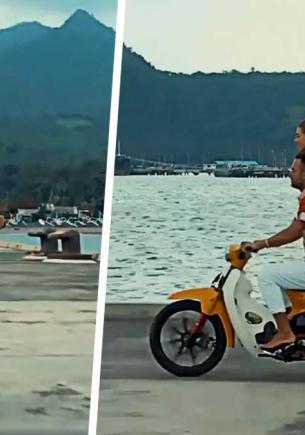 Российский блогер приехал на Бали и прыгнул в океан на мотоцикле. Местные поражены, но вовсе не его смелостью