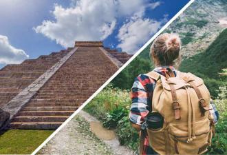 Туристка в Мексике покорила высокую лестницу, но люди злы. Ведь она прошла прямо по священной пирамиде майя