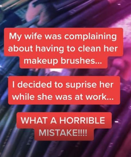 Парень хотел сделать сюрприз своей жене, но ошибся. Он помыл её кисти, и такого девушка ему не простит
