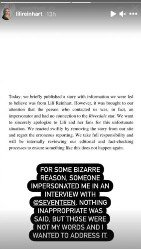 """Лили Рейнхарт дала интервью журналам, но сама об этом не знала. Виноваты импостор и тайна в духе """"Ривердэйла"""""""