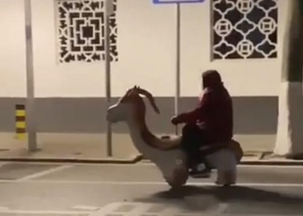 Бабуля приручила дракона и катается на нём по городу.
