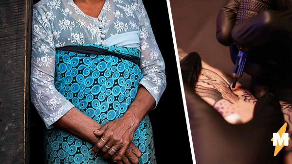 Женщины из Мьянмы придумали, как избежать похищений. При виде таких татуировок мужчины бегут от них в панике