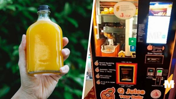 Покупатель заглянул в аппарат со свежевыжатым соком и пить перехотел. Жажда пугает меньше таких фруктов