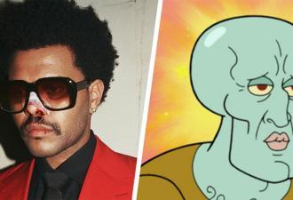 Фаны увидели The Weeknd с накачанными (почти) губами, и мем родился. Ведь певец — копия красивого Сквидварда