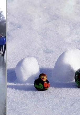 Хороводы, снежки и футбол полицейским шлемом. На кадрах с митингов 23 января, кажется, нашлись будущие мемы