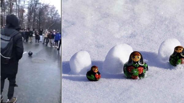 Хоровод, снежное побоище и футбол полицейским шлемом. Так россияне запомнили митинги по всей стране