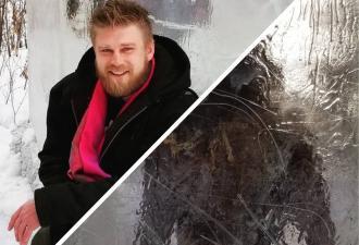 Люди нашли в парке древнего человека в глыбе льда и испугались. Но этот пранк дело рук не природы, а художника