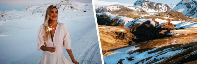 Девушка показала, как выглядит Исландия зимой. И это не волшебные виды из Скайрима, а сдувающий с ног ветер