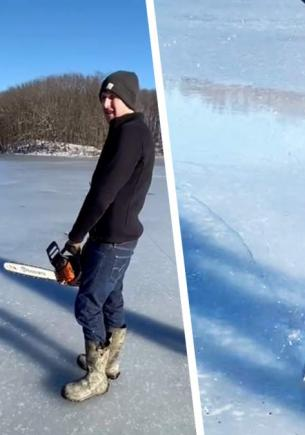Парни вырезали посреди замёрзшего озера круг льда. Это трюк, и он для тех, кто не знает: страх уже изобрели