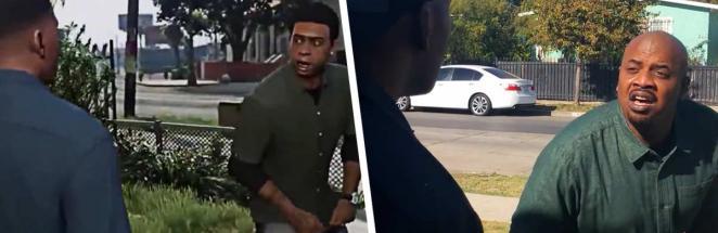 Сцена из GTA V с прожаркой Франклина стала мемом. А теперь в неё ворвались актёры героев — и сделали всё лучше