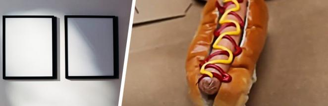 Парень залил смолой хот-дог, и это искусство. Фастфуд трёхмесячной давности ещё никогда не был таким манящим