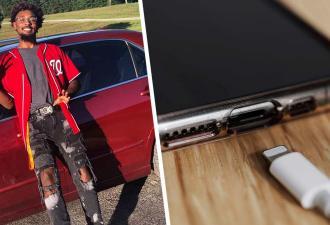 Парень показал, как моментально заряжать айфон картой, и открыл портал в XXX век. Но люди видят на видео фейк