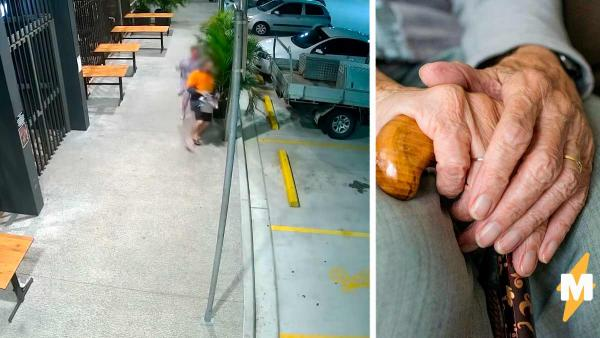 Грабитель хотел поживиться на бедной старушке, но увы. Она отбила (в прямом смысле) свою сумку и была такова