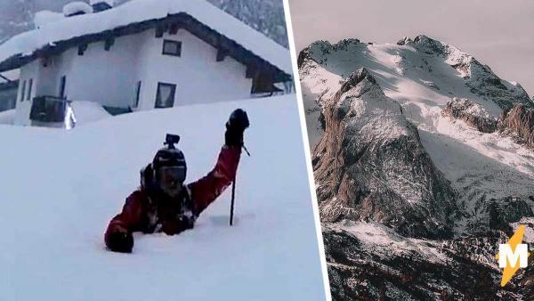 Лыжник радовался вечернему снегопаду, но недооценил стихию. Наутро кататься ему пришлось не по снегу  под ним