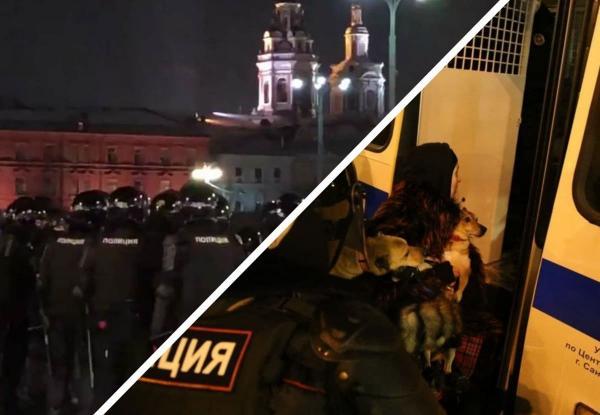 """Сотни задержаний, """"Перемен"""" и собаки в автозаке. В РФ 2 февраля прошли протесты, и действовали силовики жёстко"""