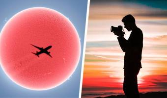 Фотограф снимал Солнце и получил иллюзию — её не забыть. Не каждый день увидишь, как самолёт уничтожает звезду