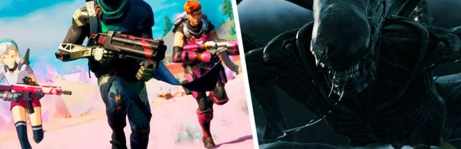 В Fortnite открылся портал, и геймеры видят в нём Чужого. Ведь на слитом аудио из игры слышен рык ксеноморфа