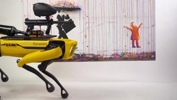Команда арт-пранкеров сделала робо-пса с пейнтбольным пистолетом. Теперь люди из дома могут расписать галерею