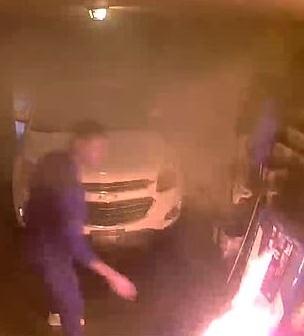 Водитель решил приготовить барбекю в гараже, но переборщил с розжигом. Теперь у него на ужин не стейк, а угли
