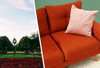 Прохожий заметил мягкий диван в парке. Но чтобы отдохнуть на таком, вы должны быть ростом больше 25 метров