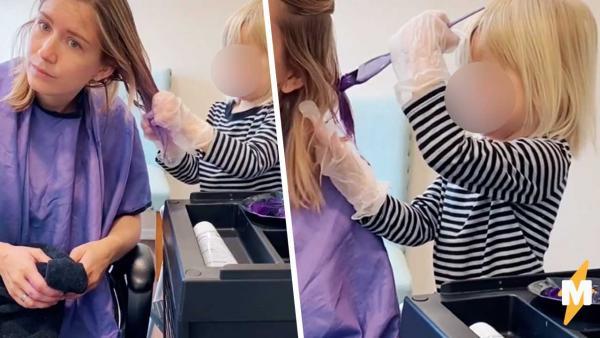 Маленькая дочка покрасила волосы маме и стилисты зашли в чат. В свои три года она работает, как профессионал