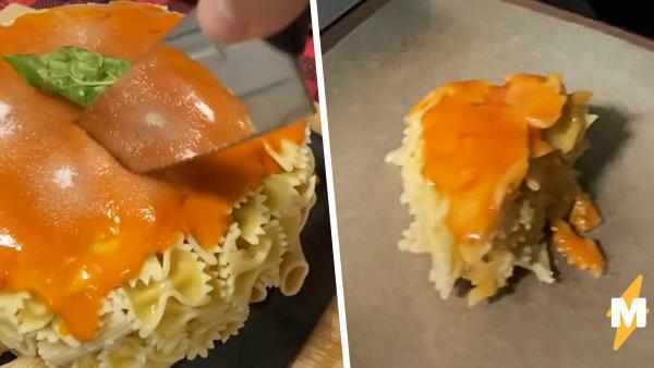 Тиктокер пытался приготовить торт, а получился макаронный монстр. Всё же не стоило выпекать его в посудомойке
