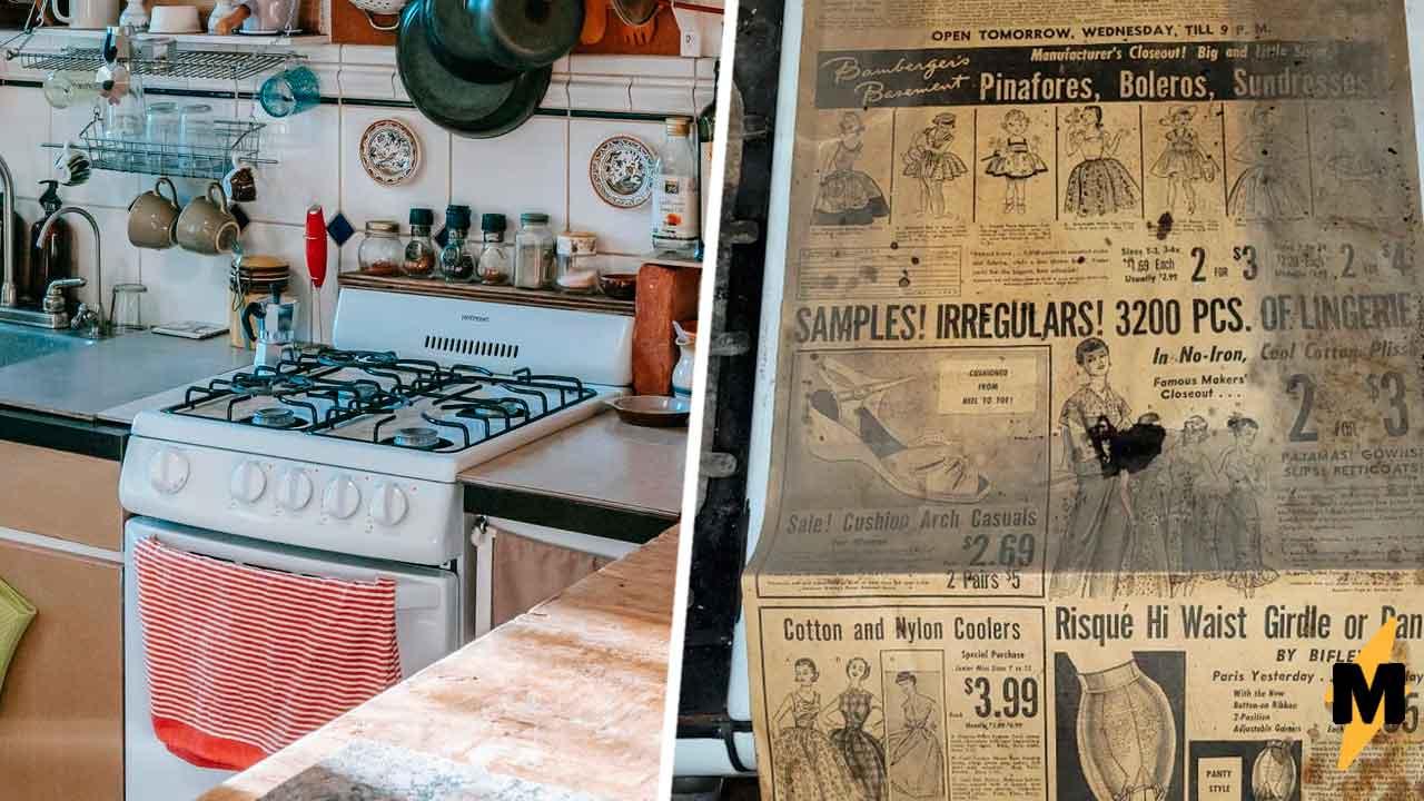 Реддитор купил старую плиту и нашёл там кусочек газеты. Мужчины хихикают, ведь знают, почему она там была