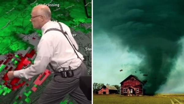 Метеоролог в эфире узнал, что его участок снесло торнадо. Его реакция - поворот, которого не ожидали зрители