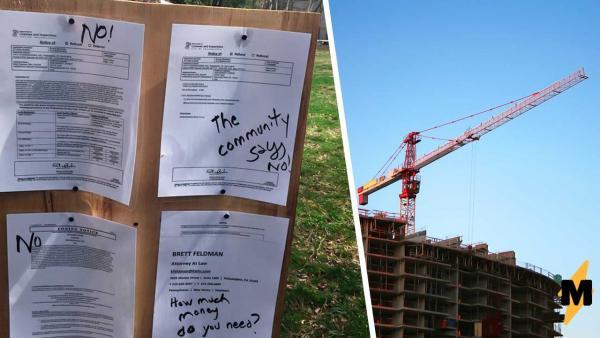Учёный не доволен строительством вокруг его дома и выразил протест по-научному (вонючему). Соседи в смущении