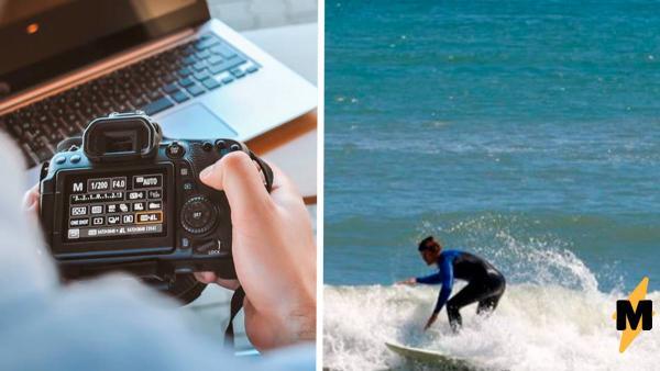 Фотограф снял сёрфера на доске, а увидев кадр, чуть не упал. Поймать такого гостя в кадре труднее, чем волну