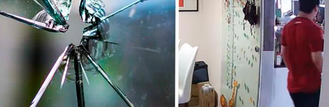 Хозяин квартиры показал, как легко разбить закалённое стекло. Это магия, ведь он даже не касался поверхности