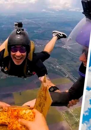 Вы можете есть пиццу, падая с высоты в пять тысяч метров. Четыре сумасшедших друга показали на видео как