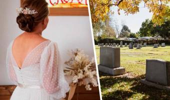 Невеста всегда знала, что её свадьба будет самой необычной. Для церемонии она выбрала место, где обычно плачут