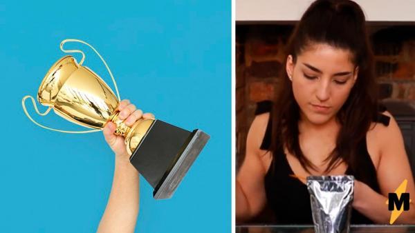 Девушка побила мировой рекорд по скоростному питью, но зрители увидели другое. Спеша, выпила она не только сок