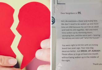 Соседка получила записку и поняла, что её отношениям конец. Весомую причину для разрыва подкинули жители дома