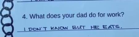 Четырёхлетка заполнила честную анкету о папе и отнесла в школу. Теперь отцу - стыдно, а у мамы много вопросов